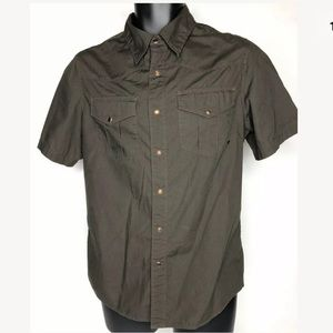 Fox Racing Brown Pearl Snap Button Shirt Medium